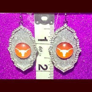 Texas Longhorns Silver Rhinestone Glitter Earrings